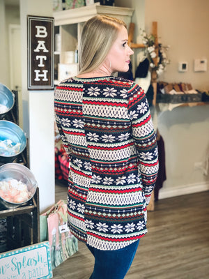 Holiday Print Knit Top