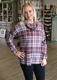 Burgundy Flannel Edge Top