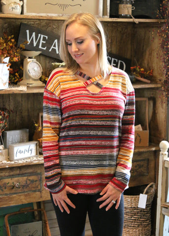 Carrie Criss Cross Multi Color Top
