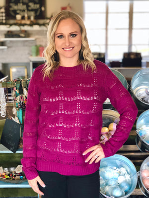 Magenta sweater with pointelle detail