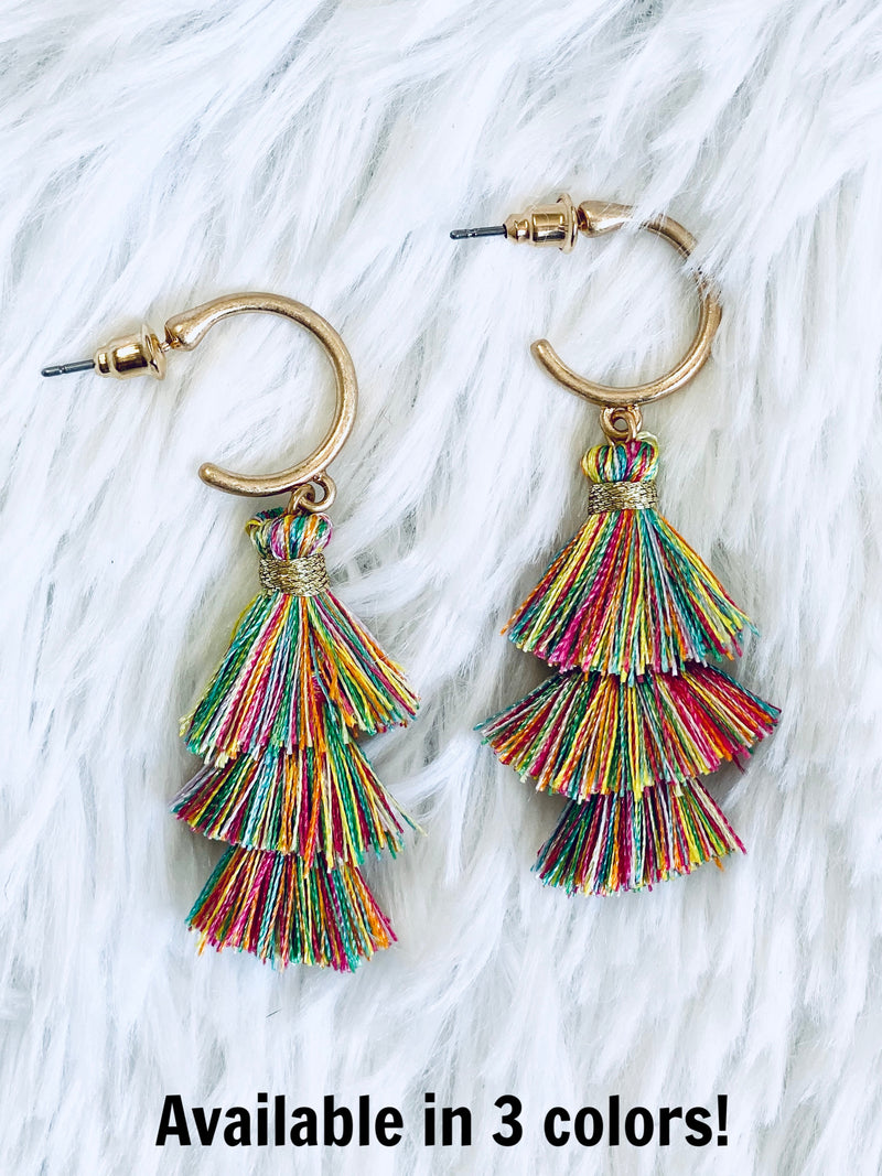 Tiered Tassel Hoops
