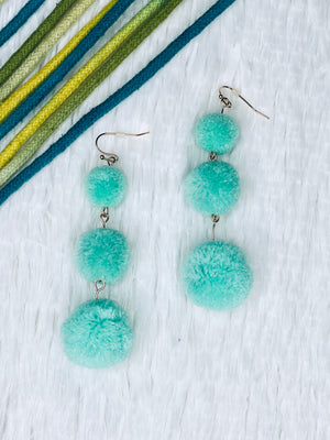 Tiered PomPom Earrings