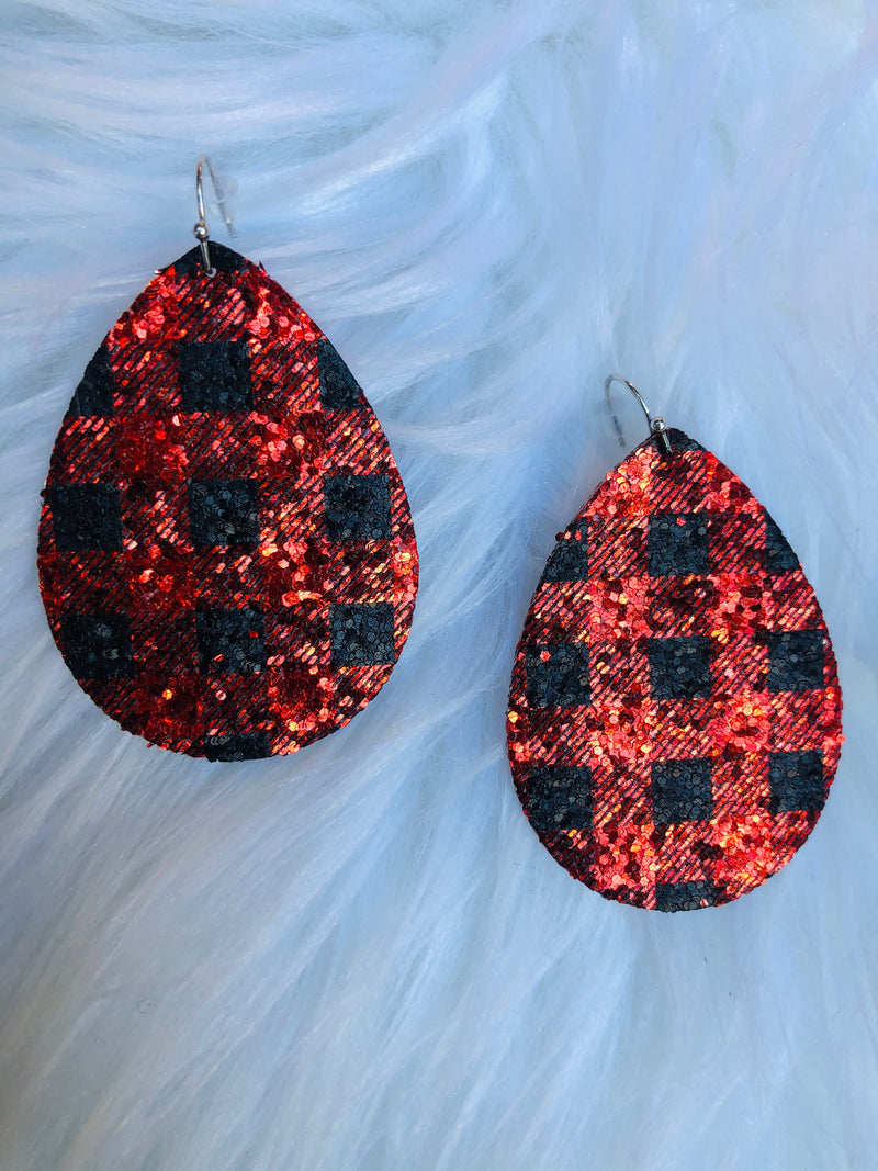Buffalo Plaid Glitter Earrings