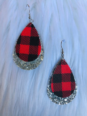 Buffalo Plaid 2 Layer Earrings