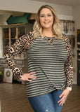 Olive & Leopard Twist Hem Top