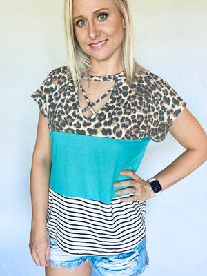 Criss Cross Color Block Top