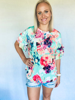 Mint Neon Floral Ruffle Sleeve Top