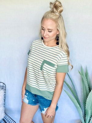 Striped Double Pocket Top