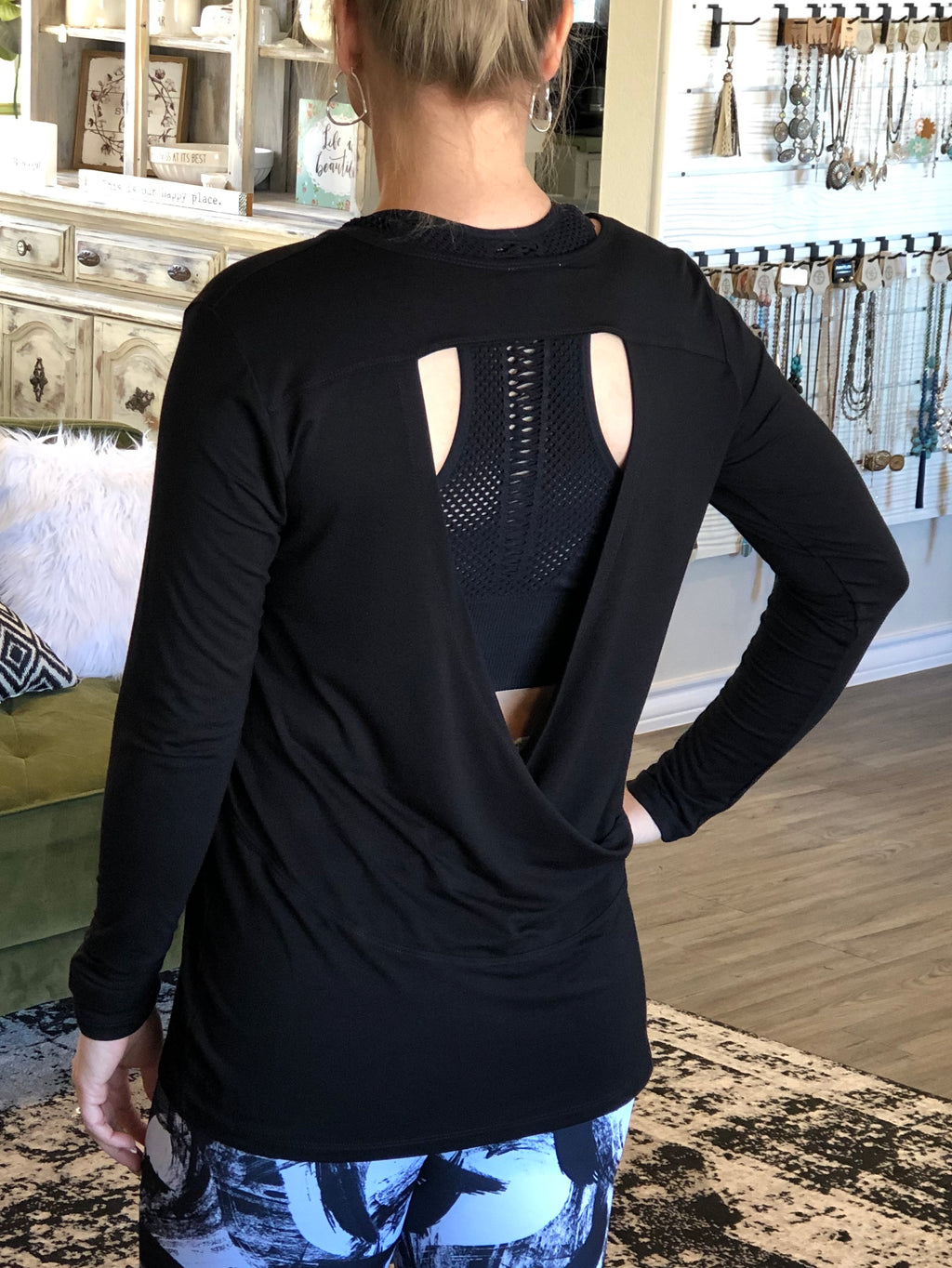 Black Wrap Back Top