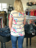 Casual Cream & Floral Knot Top