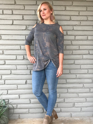 Camo Cold Shoulder Twist Top