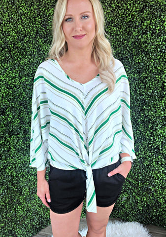 Goodness Gracious Green Knot Top