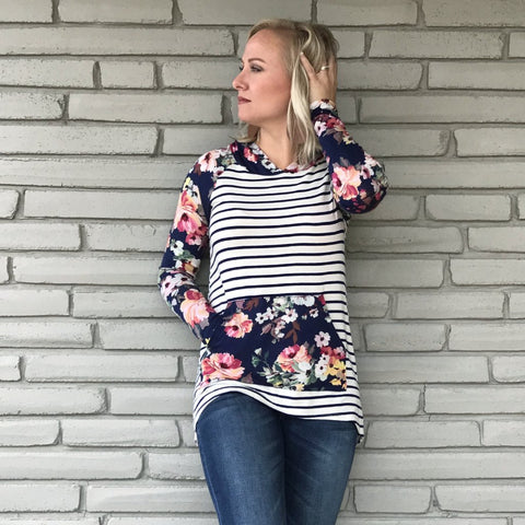 Navy Picking Flowers Pocket Hoodie