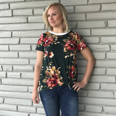 Hunter Green Hayden Floral Top