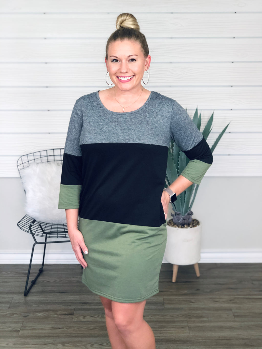 Olive Color Block Dress