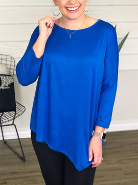 Royal Blue Asymmetrical Top