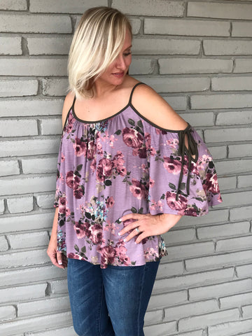 Fresh Floral Mauve Tie Sleeve Top