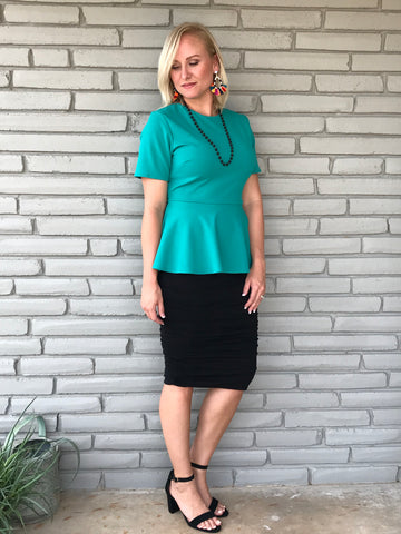 Emerald Peplum Top