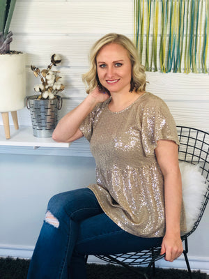 Taupe Sequin Babydoll Top