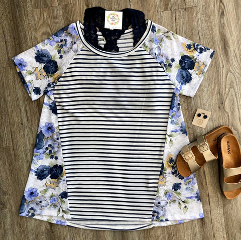 Iris Off White Striped Plus Top