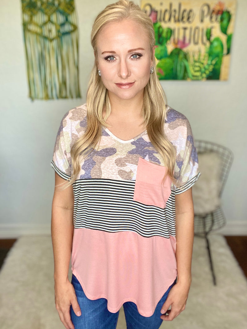 Camo Blush Color Block Top