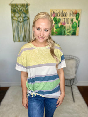 Green Striped Knit Top