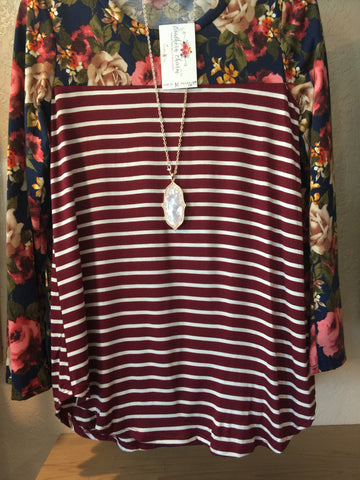 SC-Allie Floral striped tee