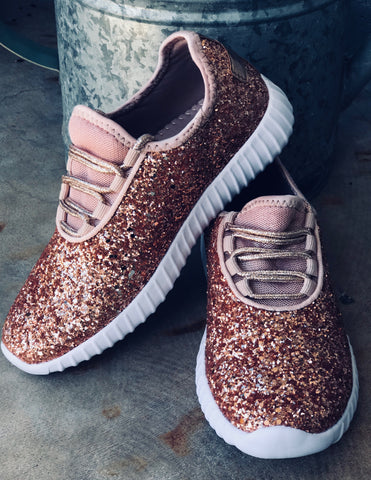 Womens Rose Gold Glitter Sneakers