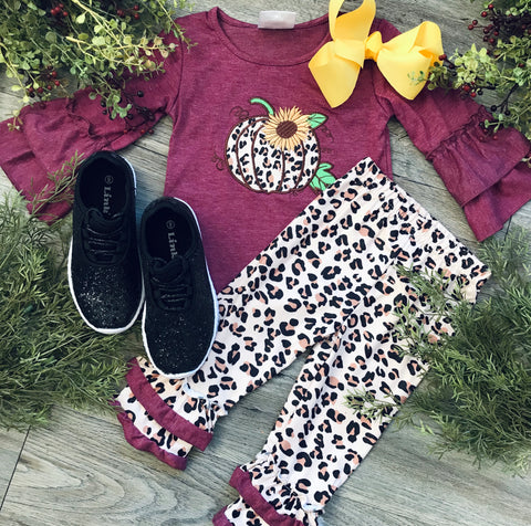 Girls Maroon Leopard Pumpkin Set
