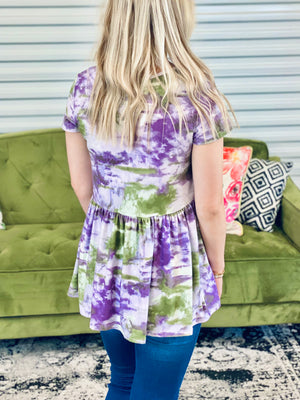 Purple & Green Tie Dye Babydoll top