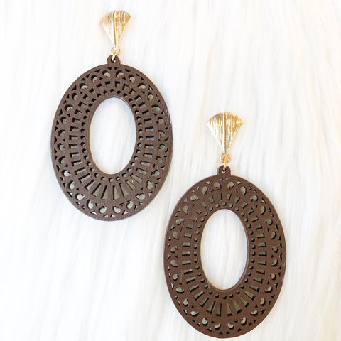 Wooden Oval Gold Earrings