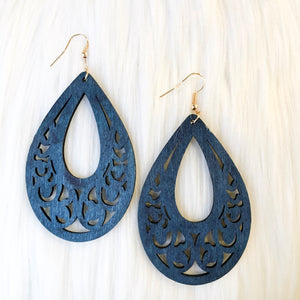 Large Wooden Teardrop Earrings