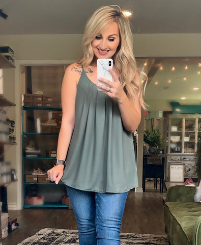 Pixy Pleated Spaghetti Cami