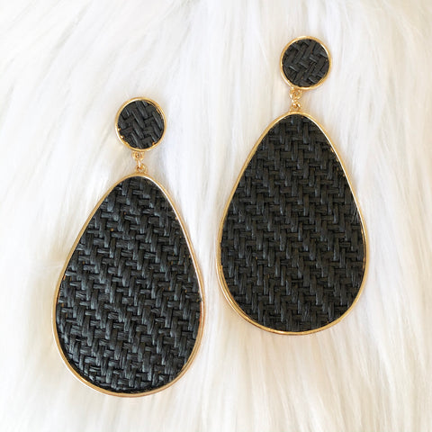 Black Woven Gold Earrings