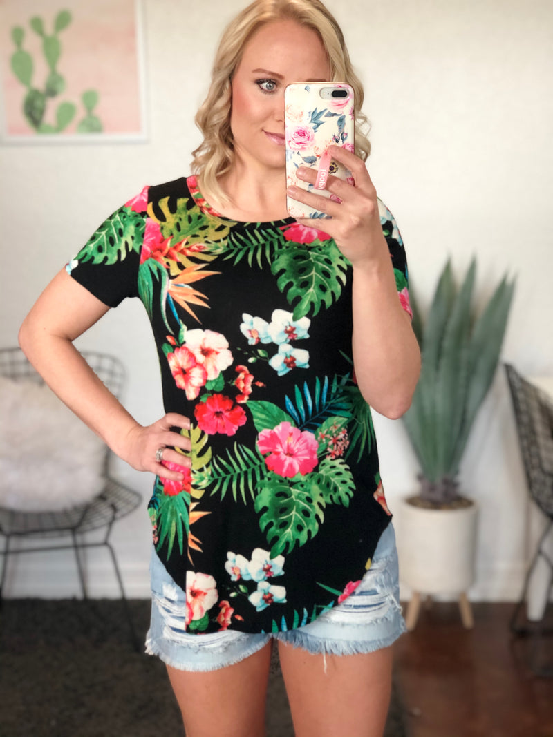 Black Tropical Print Top