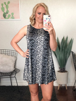 Black & Grey Leopard Dress