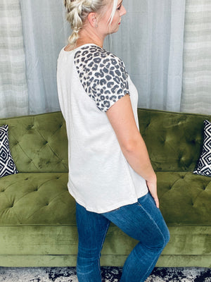 Taupe Leopard Sleeve Top