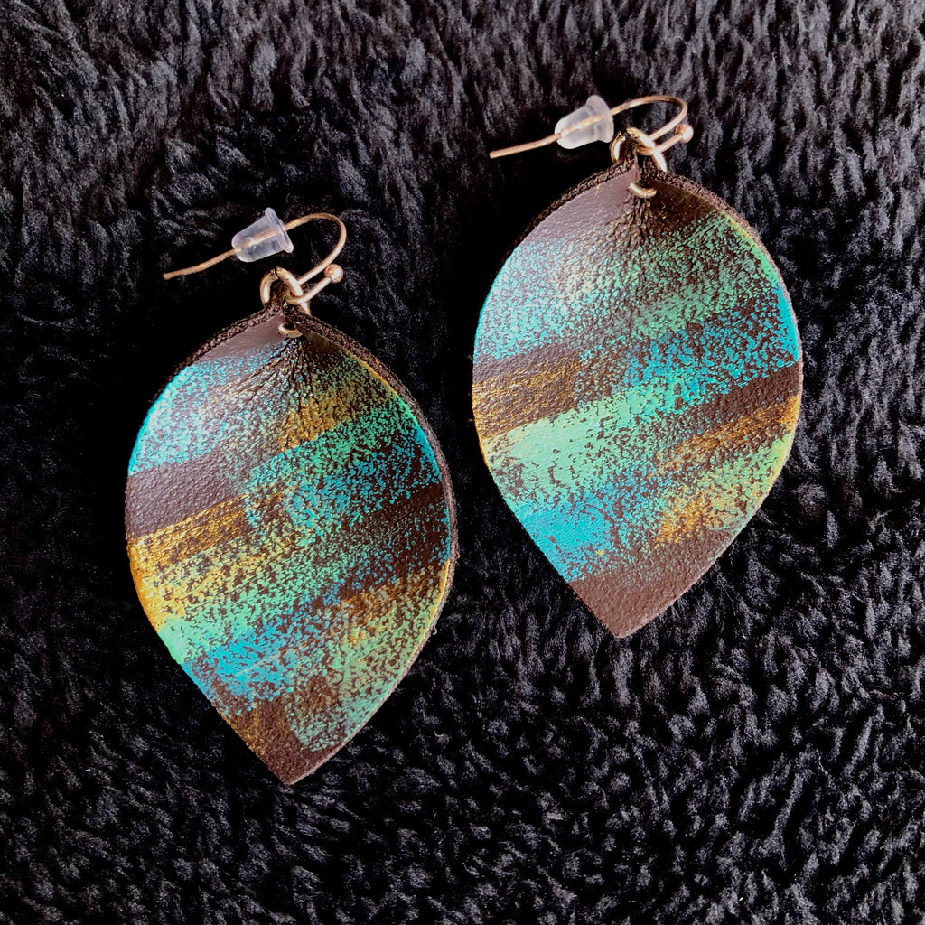 Peacock Pinched Leather Earring