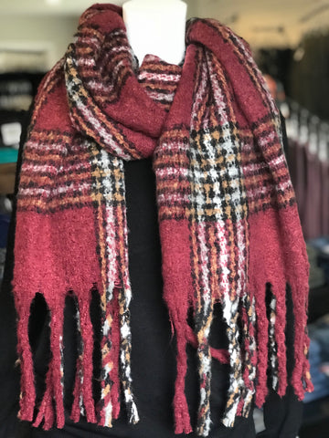 Large Fuzzy Fringe Plaid Scarf