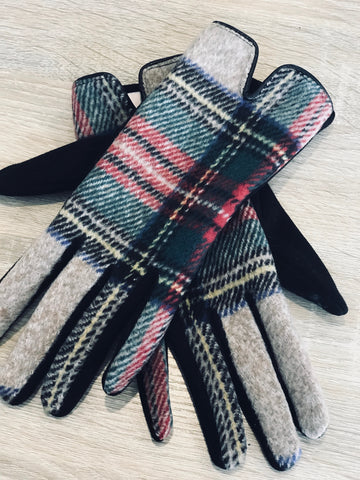 Plaid Screen Touch Gloves