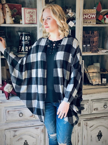 Black & Grey Perfect Plaid Cardigan