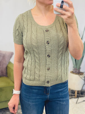 Olive Short Sleeve Cable Knit Sweater