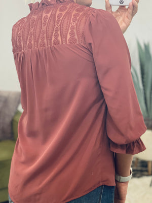 Marsala Smocked Lace Back Top