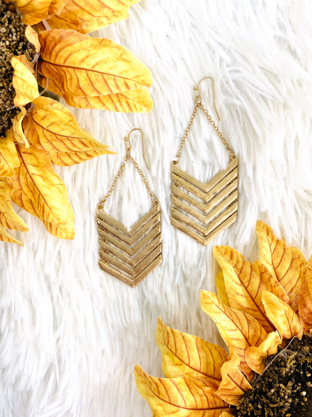Gold Chevron Earrings