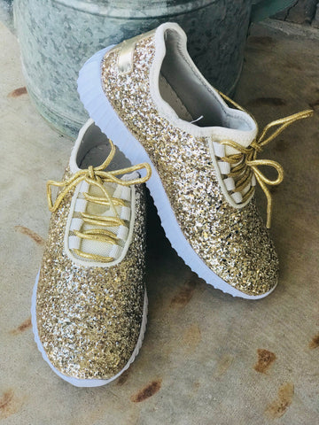 Womens Gold Glitter Sneakers