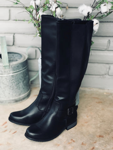 Casual Tall Black Zipper Boots