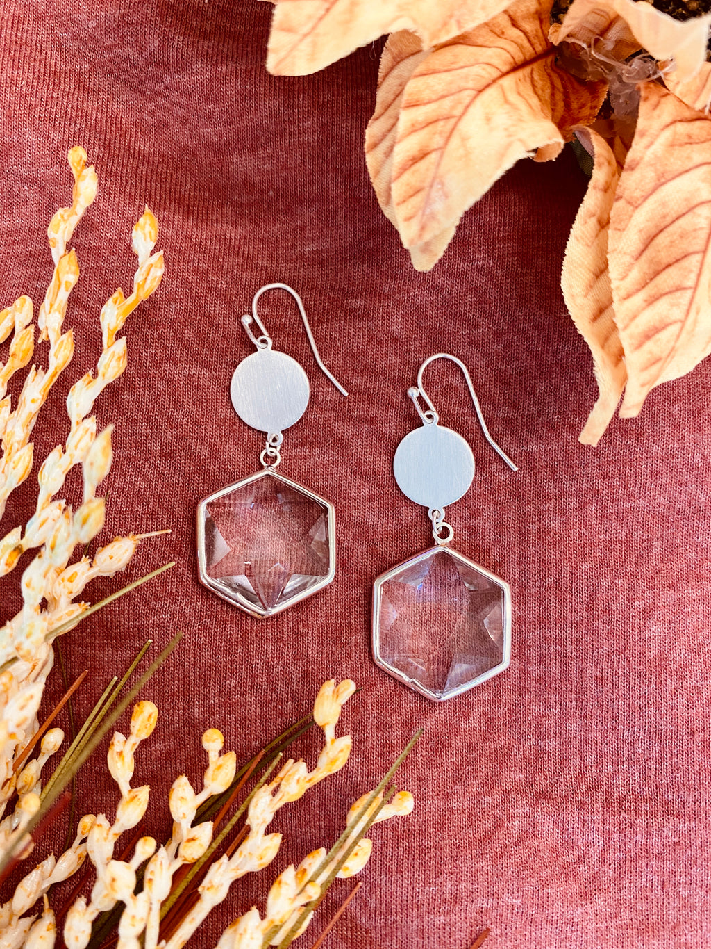 Faceted Hexagon Drop Earrings