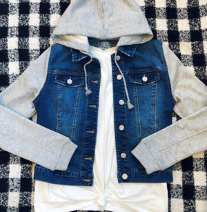 Grey Hooded Denim Jacket
