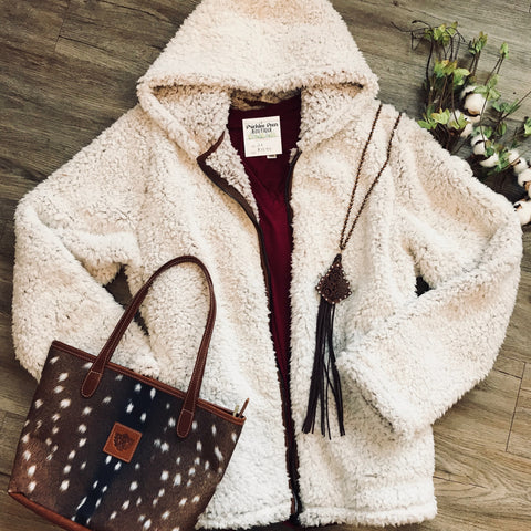 Faux Fur Plus Hooded Zip-Up Jacket