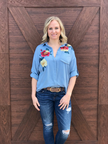 Blue Dixie Embroidered Button Down